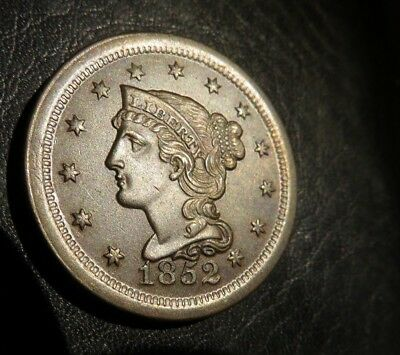 1852 large cent ALMOST MARK FREE NO RESERVE