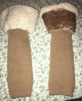 Brown & Winter White Leg Warmers; Very Good Condition. One Size Fits All.