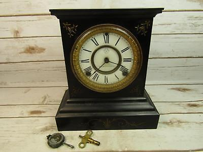 Antique Ansonia Clock Iron Case Mantel Clock W/ Key Partially Works