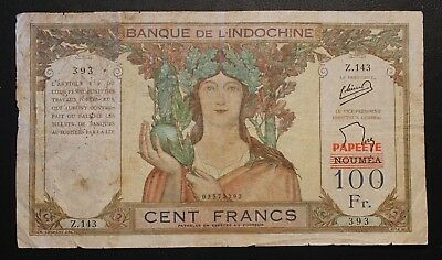 Tahiti 100 Francs red Papeete overprint on Noumea issue. Pick# 16A. Scarce note