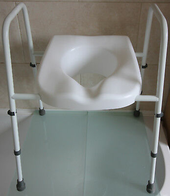 Toilet Seat Frame Commode White Adj Height Free Delivery Collection