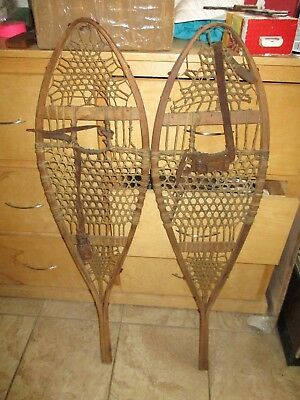 "Antique 19th Century Snowshoes matching set great for cabin decor  42 1/2"" long"