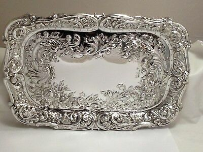 Solid Silver Embossed Dressing Table Tray, CHESTER 1900 404 GRAMS