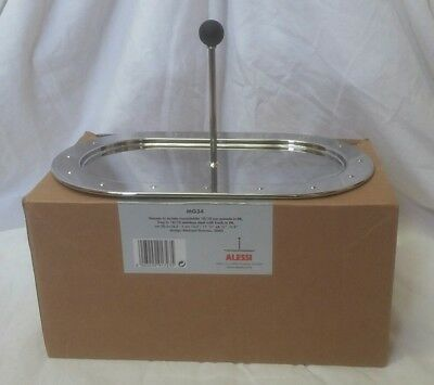 Alessi Oval Stainless Steel Tray with Holder MG34 Michael Graves