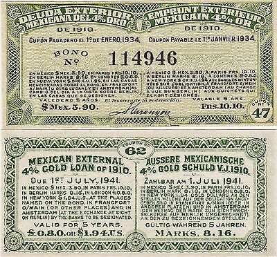 Mint Coupon Mexican Mexico Bond External 4% Gold Loan Of 1910