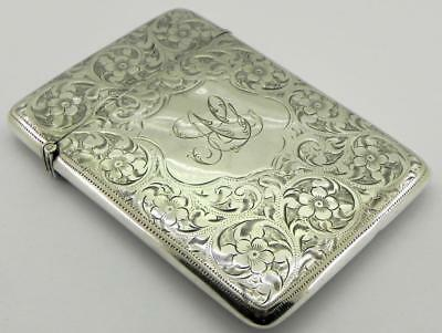 Antique Solid Silver Card Case, Birmingham 1904, By Joseph Gloster.