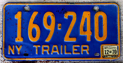 The Old Orange on Blue New York Trailer License Plate with a 1970 Sticker
