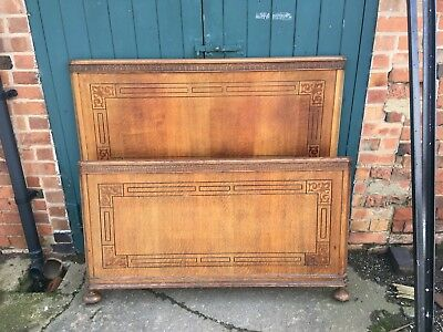 Antique Edwardian Inlaid Carved Golden Oak Double Bed with Side Irons Bun Feet