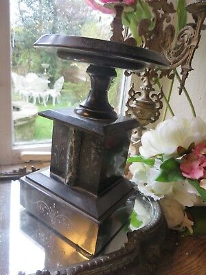 Pair Of Superb Antique French Black Marble  Socle / Candle Stands ~  C.1900