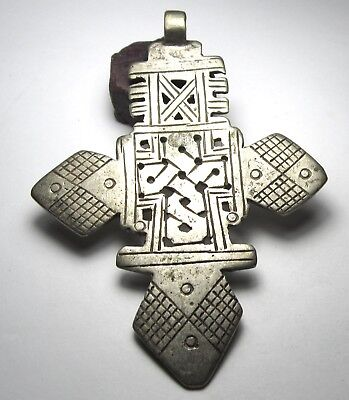 RARE LARGE AMAZING OLD SOLID SILVER ETHIOPIAN CROSS ANTIQUE PENDANT 72mm x 100mm
