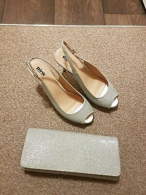 PINK PARADOX SILVER SHOES. SIZE 7. GLITTER SLINGBACKS AND Matching bag