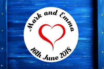 Personalised Heart Round Wedding Stickers/Labels Envelopes Seals 3 sizes
