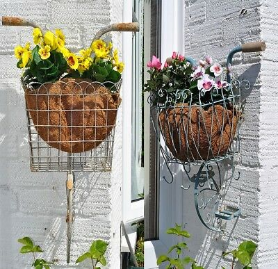 Vintage Style Metal Bicycle Garden Wall Planter Pot Holders Basket Hanging Chic