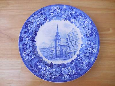 """Wedgwood Old South Church Blue/White 10-1/8"""" Plate Boston 1773"""