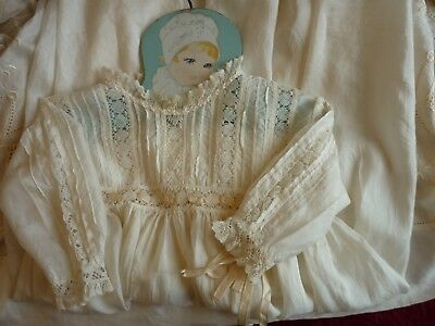 Pretty Antique/Vintage Emb Ivory Silk Baby GownLace Trim GC.