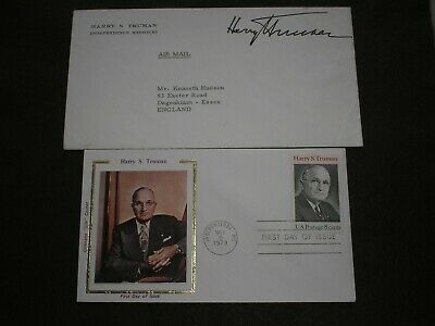 USA President HARRY TRUMAN SIGNED Personal PRINTED STATIONARY Autograph Envelope