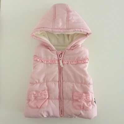 Baby Girls Pink Hooded Fleece Lined Gilet Body Warmer Size 9-12 Months