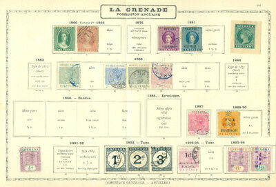 British Colonies - GRENADA 1860-96 Collection of classics on old MAURY page