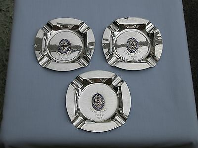 Heavy Lot 3 X Solid Silver + Enamel York Motor Club Ashtrays - Speed Trial 1924