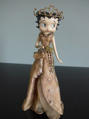 "11"" Betty Boop Figurine Doll in sequin and embroidered dress purse crown"