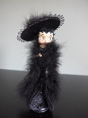"11"" Betty Boop Figurine Doll in black velvet dress with black feather boa & hat"