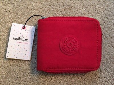Kipling Zip Around Nylon Wallet - Cherry Red - NWT!