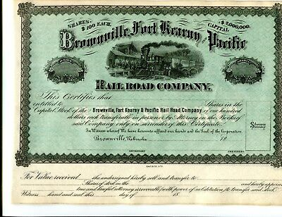 Unissued 18XX Brownville. Ft Kearney and Pacific Stock Certificate a Nebraska RR