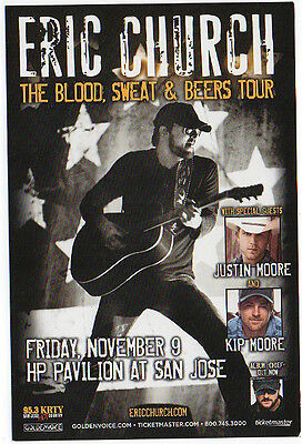 Very Nice & Mint Eric Church San Jose, Ca Concert Handbill