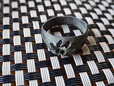 Authentic Byzantine Renaissance Bronze Ring Circa 800-1100 Ad. Rare