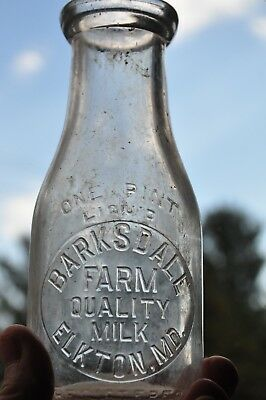 TREP Barksdale Farm Milk Bottle Elkton Md 1942