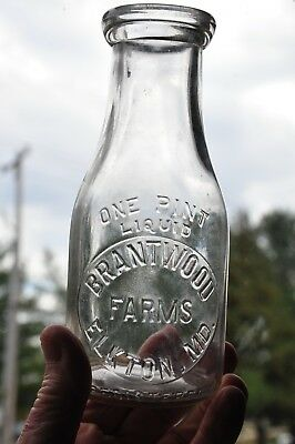 TREP Brantwood Farms Dairy Elkton Md Milk Bottle 1940
