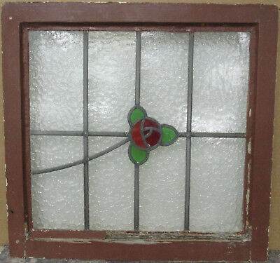 """OLD ENGLISH LEADED STAINED GLASS WINDOW 3 Leaf Floral 22.2"""" x 21.5"""""""
