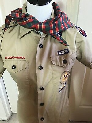 boy scouts uniform shirt youth large Beige With scarf
