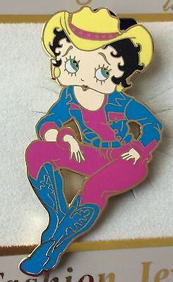 BETTY BOOP COW GIRL Western Pin Boots Hat Card Gold Plate Pink Blue Turquoise
