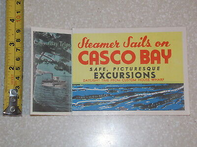 Casco Bay Excurions House Wharf Steamer Sails Brochure Old Vintage Boat