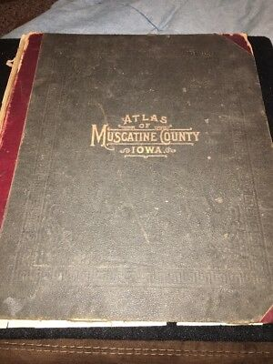 Atlas Of Muscatine County Iowa Hard Bound Cover 1899