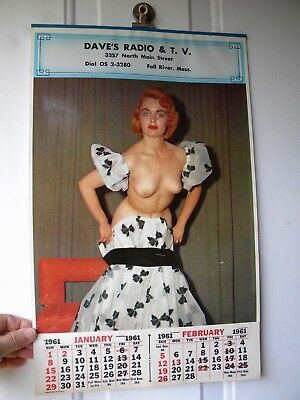 Vintage 1961 PIN UP CALENDAR Full Pad - FALL RIVER MASS. - Dave's Radio & T.V.