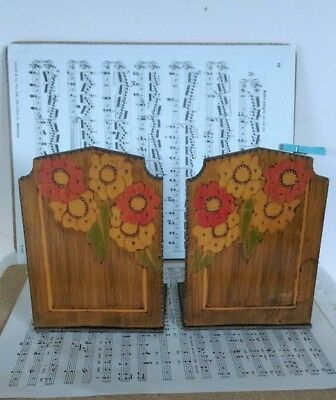 Collectable Poker Work  Wooden Bookends-Decorative Floral-C:1940's
