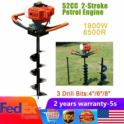"""52CC Auger Post Hole Digger Gas Powered Borer Fence Ground Drill+4"""" 6"""" 8"""" Bits"""