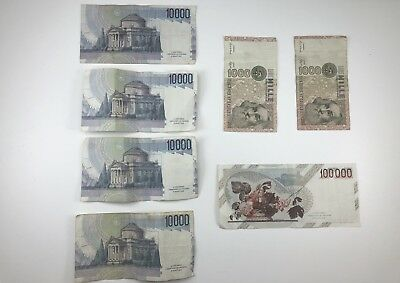 Italy 100000 10000 1000 Lire Lira Note Lot of 7 Currency Banknotes As Shown