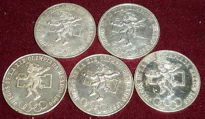 "CHOOSE 1 of 5 MEXICO 1968 SILVER OLYMPIC COINS ""SILVER DOLLAR"" SIZED, ALL NICE"