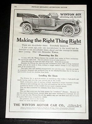 1912 Old Magazine Print Ad, The Winton Six Cyl, Making The Right Thing Right!