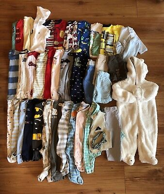 Baby Boys Clothes Lot of 44 Size 0-3/3-6/6-9 Months Summer Winter Fall