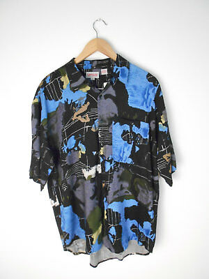 """vintage Rayon Campus Abstract """"Maps"""" Shirt Men's Size Large NWT NEW #231"""