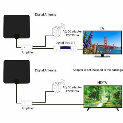 Indoor HD Digital TV Antenna HDTV Amplifier VHF UHF 50 Miles Range Flat Black