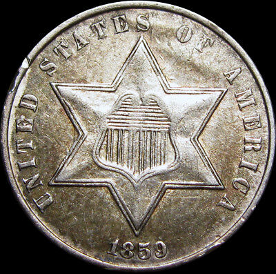 1859 Silver Three Cent Piece 3cp --- TYPE COIN --- #U978