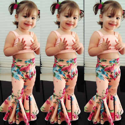 Toddler Kids Baby Girl Floral Bra Crop Tops Bell-bottoms Pants Outfit Clothes AU