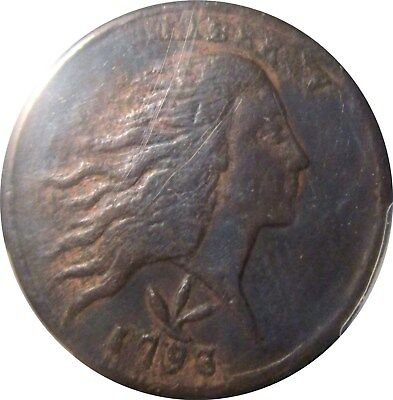 1793 Flowing Hair Wreath Large Cent  +++ Certified Pcgs Fine +++   Detail