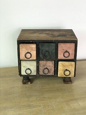 Vintage Small Chest Of Drawers - Stone Draws With Solid Wood Frame.