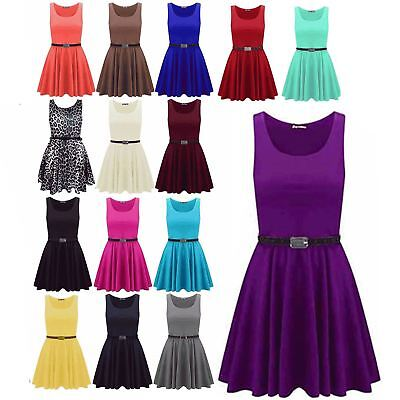 New Womens Ladies Belted Sleeveless Franki Flared Party Swing Skater Dress Top